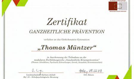 """Zertifikat """"Ganzheitliche Prävention"""""""
